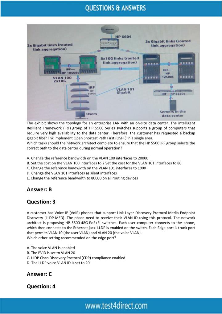 The exhibit shows the topology for an enterprise LAN with an on-site data center. The intelligent