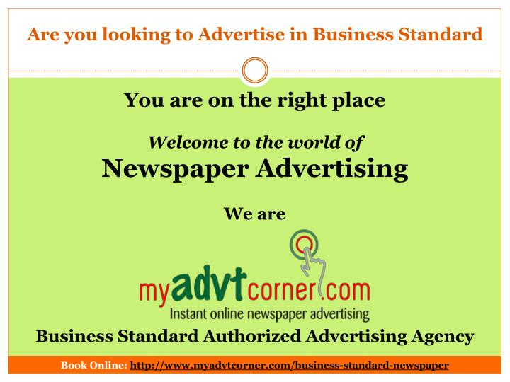are you looking to advertise in business standard n.