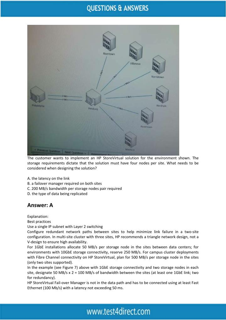 The customer wants to implement an HP StoreVirtual solution for the environment shown. The