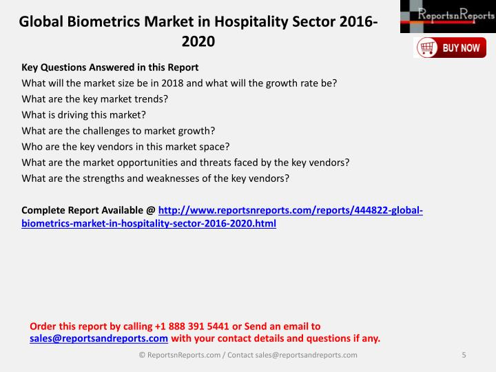 Global Biometrics Market in Hospitality Sector 2016-2020