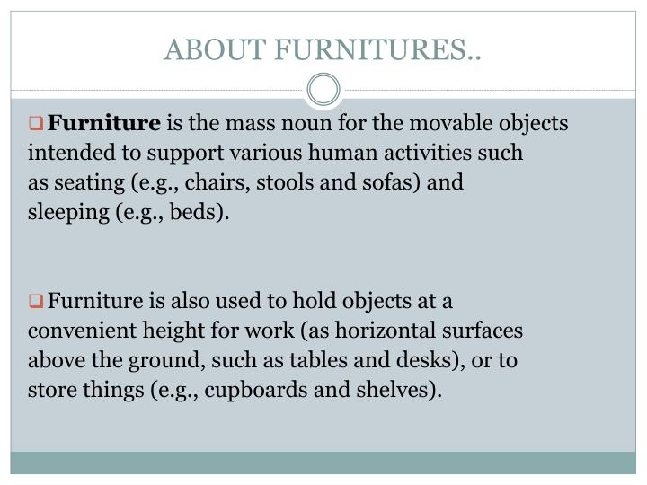 About furnitures