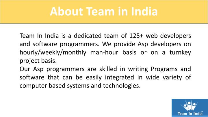 About Team in India