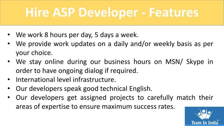 Hire ASP Developer - Features