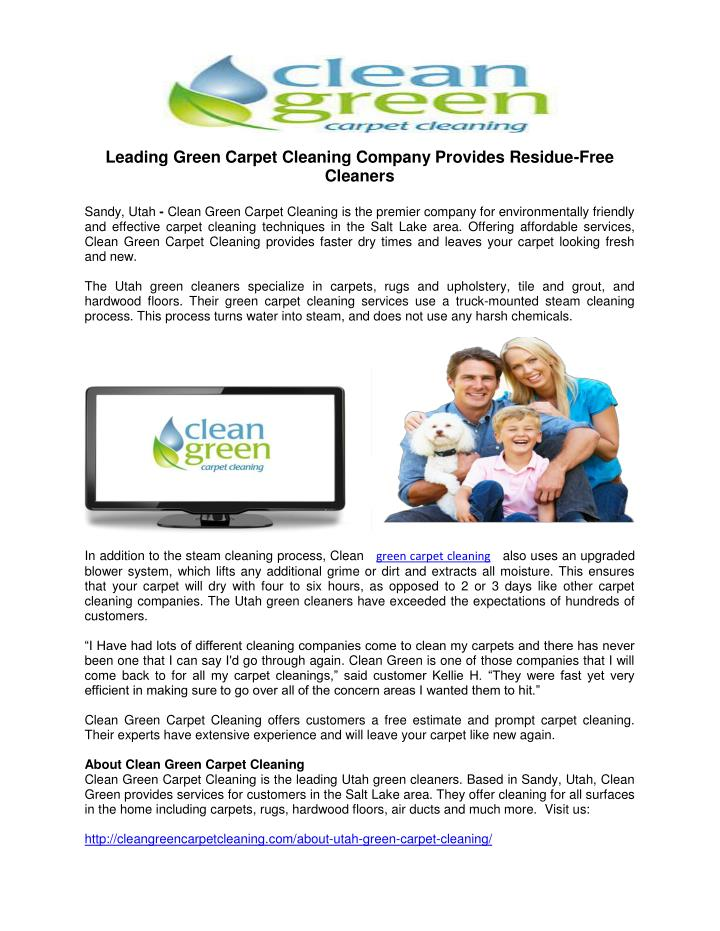 Leading Green Carpet Cleaning Company Provides Residue-Free