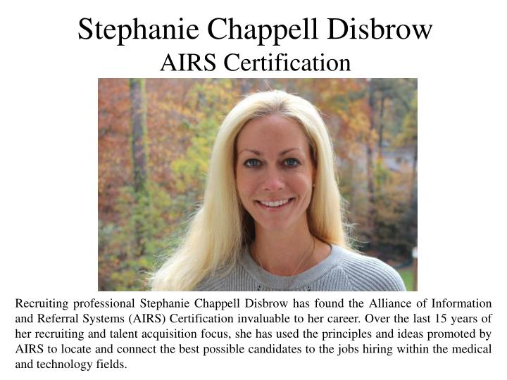 Ppt Stephanie Chappell Disbrow Airs Certification Powerpoint