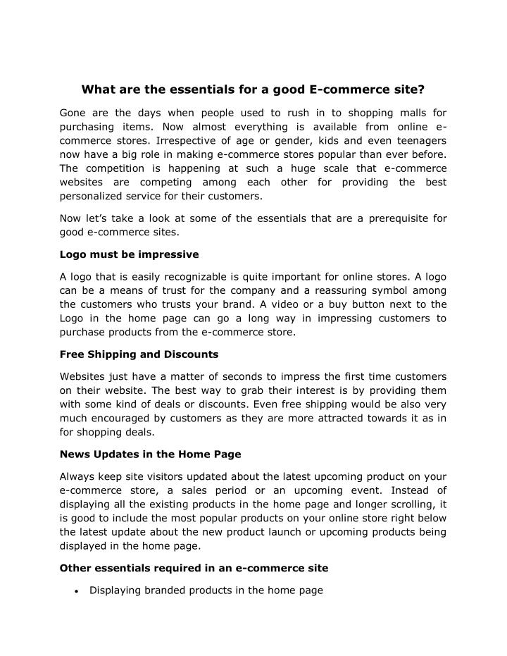 What are the essentials for a good E-commerce site?