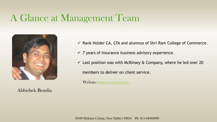 A Glance at Management Team