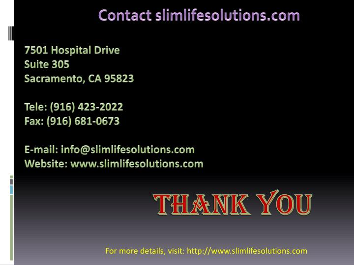 Contact slimlifesolutions.com
