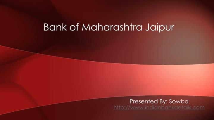 bank of maharashtra jaipur n.