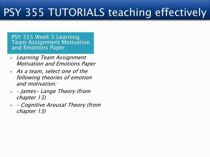 """psy 355 week 3 motivation and Motivation psy 355 motivation motivation is the process in which behavior is initiated, guided, and maintains goal-oriented behaviors """"we may define motive."""