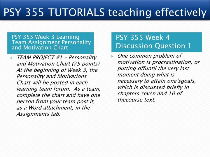 psy 355 week 3 motivation and