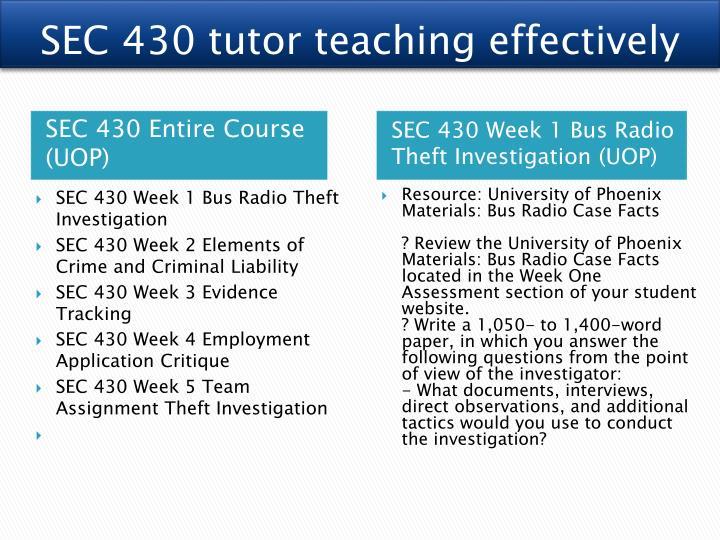 SEC 430 tutor teaching effectively