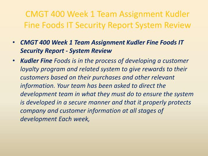 CMGT 400 Week 1 Team Assignment