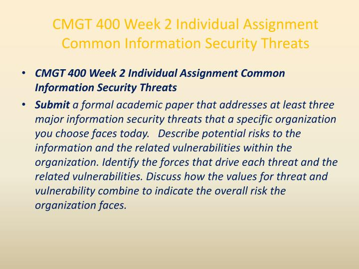CMGT 400 Week 2 Individual Assignment Common Information Security Threats