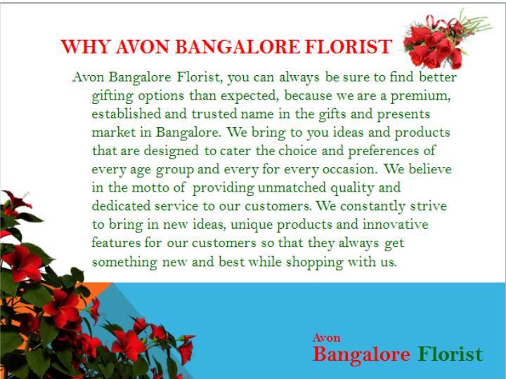 Why avon bangalore florist