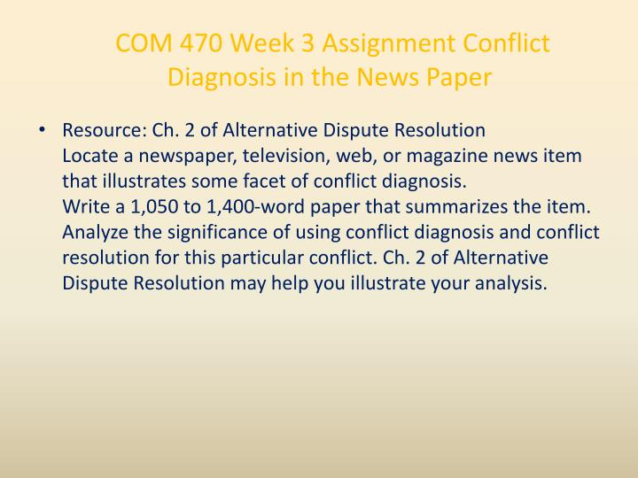 conflict diagnosis in the news