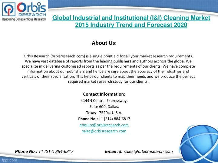 Global industrial and institutional i i cleaning market 2015 industry trend and forecast 20202