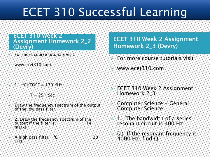 ECET 310 Week 2 Assignment Homework 2_2 (Devry)