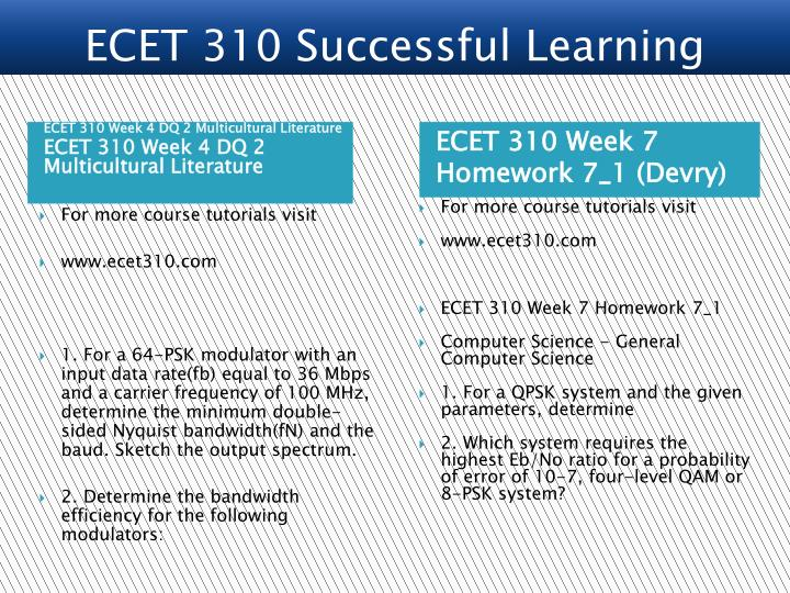 ECET 310 Successful Learning