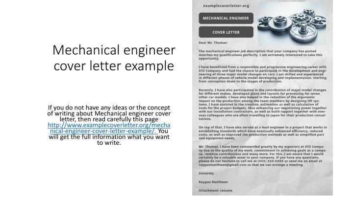 PPT - Mechanical engineer cover letter example PowerPoint ...