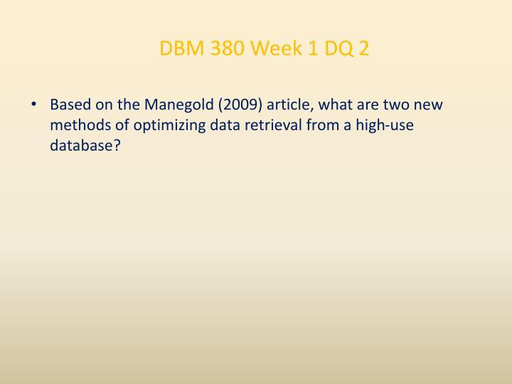 DBM 380 Week 1 DQ 2