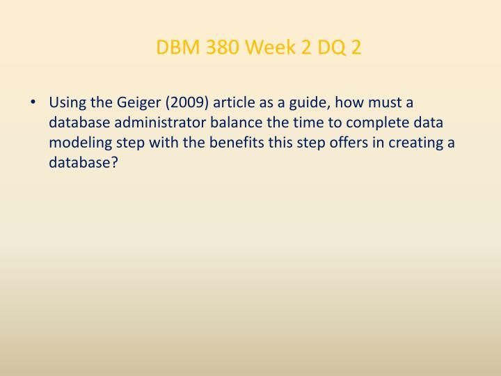 DBM 380 Week 2 DQ 2