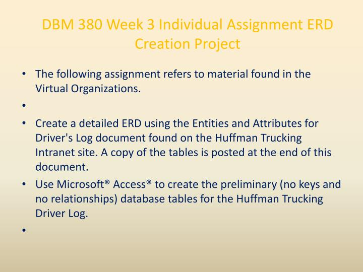DBM 380 Week 3 Individual Assignment ERD Creation Project
