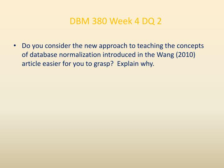 DBM 380 Week 4 DQ 2