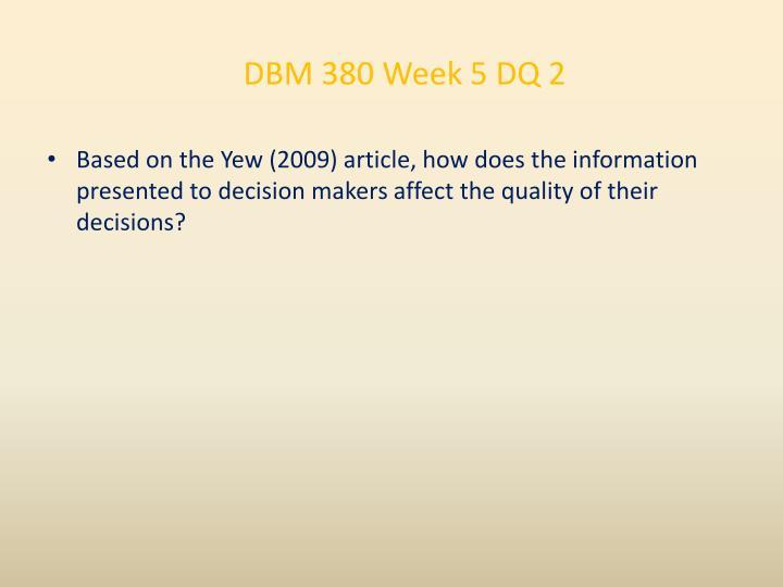 DBM 380 Week 5 DQ 2