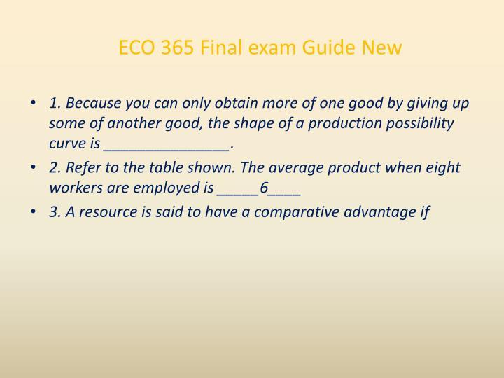 ECO 365 Final exam Guide New
