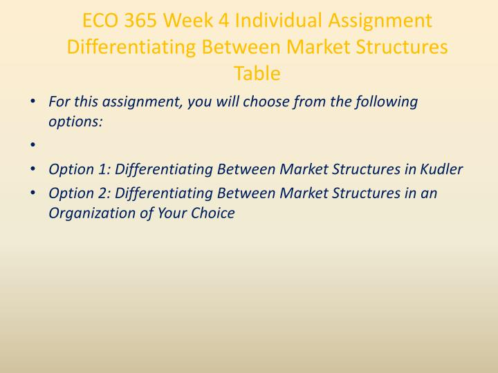 differentiating between market structures table and paper Eco 365 is a online tutorial store we provides eco 365 week 4 individual assignment differentiating between market structures table.