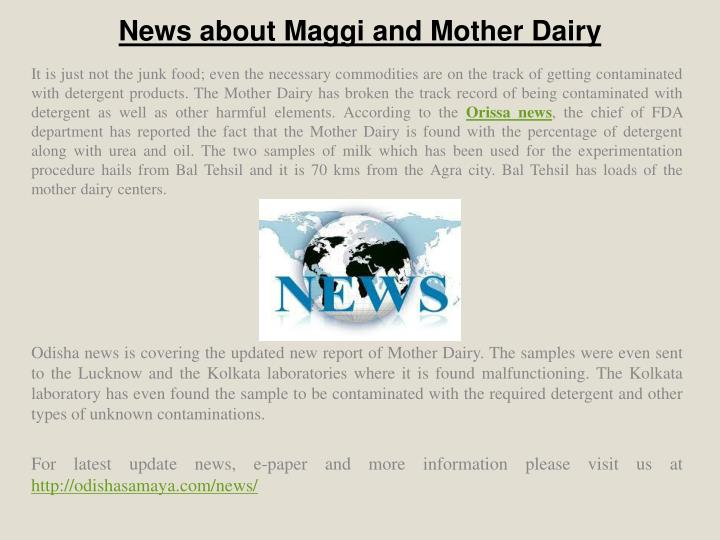 news about maggi and mother dairy n.