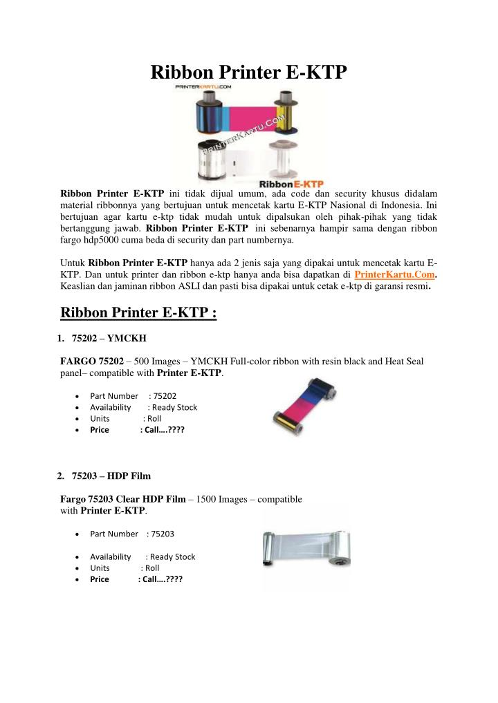 Ribbon Printer E-KTP