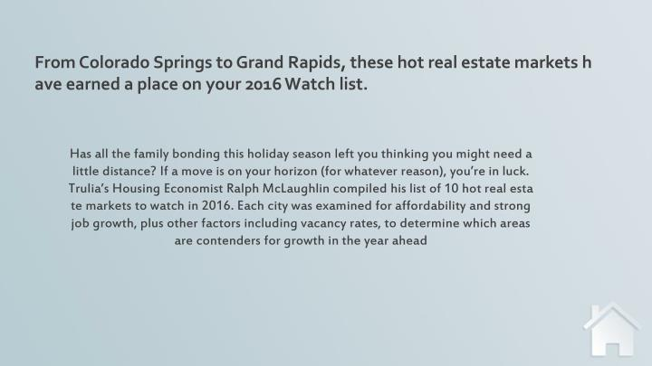From Colorado Springs to Grand Rapids, these hot real estate markets have earned a place on your 201...