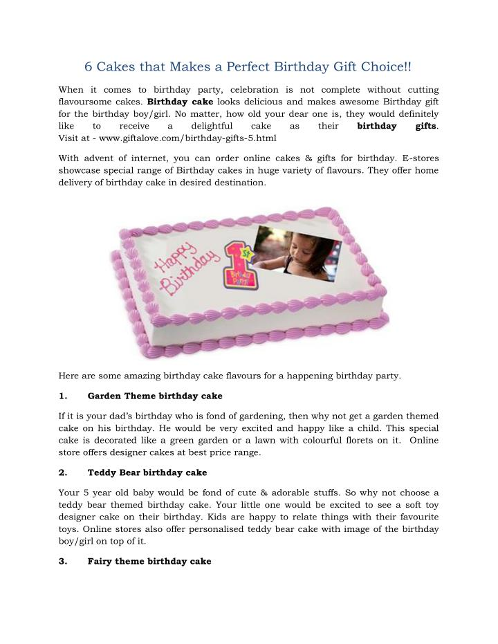 04b05a86c49 PPT - 6 Cakes that Makes a Perfect Birthday Gift Choice!! PowerPoint ...