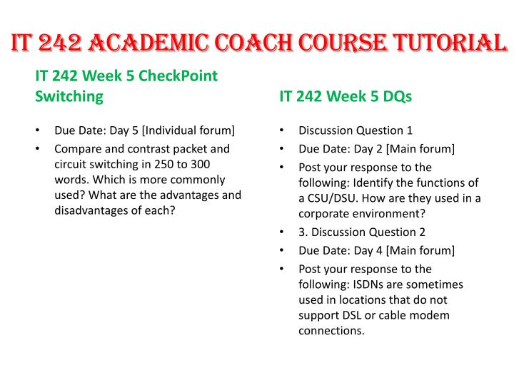 it 242 week 5 checkpoint packet and circuit switching