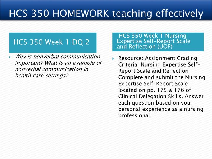 hcs 350 personal and professional health care Hcs 350 week 1 dqs hcs 350 week 1 nursing expertise self-report scale and reflection hcs 350 week 2 dqs hcs 350 week 2 communication style case study hcs 350 week 3 dqs hcs 350 week 3 delegation example in a health care setting presentation hcs 350 week 4 dqs hcs 350 week 4 personal and professional health care communication hcs 350.