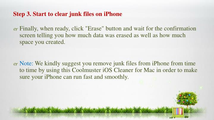 Step 3. Start to clear junk files on iPhone