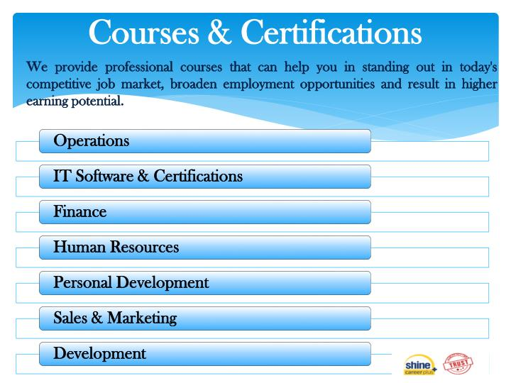 Courses certifications