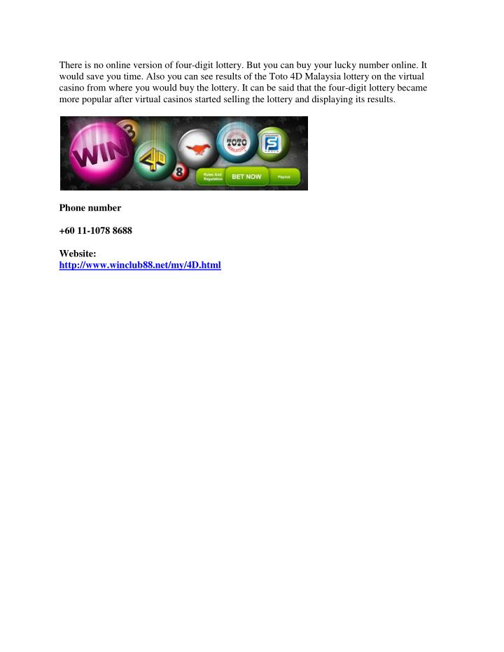 PPT - Online Toto 4D Malaysia lottery information, education and ...