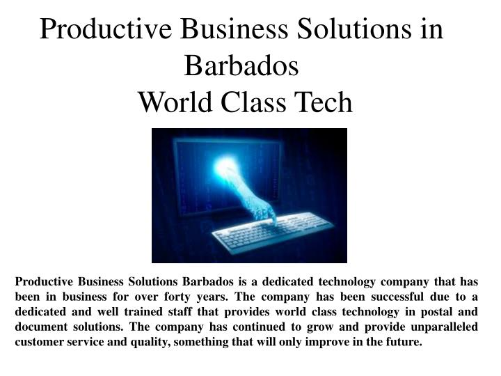 Productive Business Solutions in Barbados