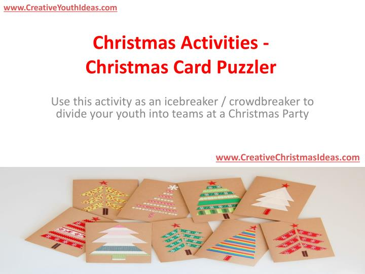 Christmas activities christmas card puzzler