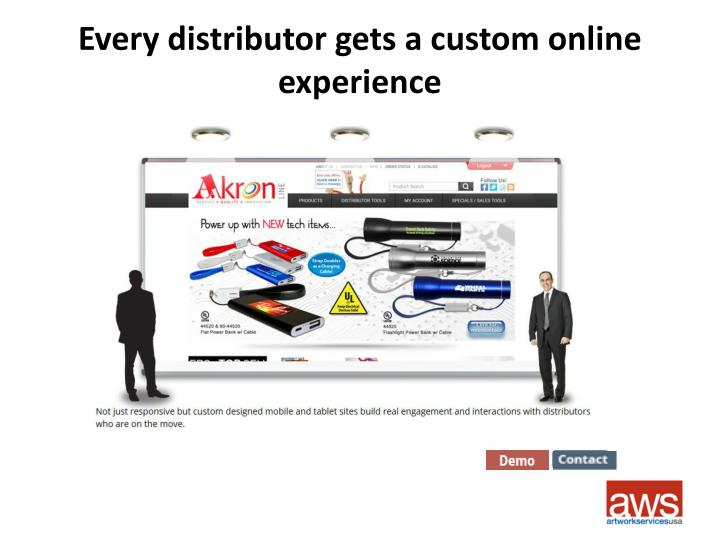 Every distributor gets a custom online experience
