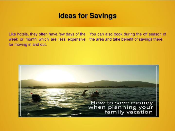Ideas for Savings