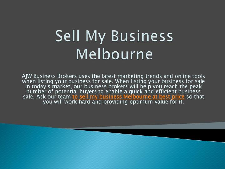 Sell My Business Melbourne