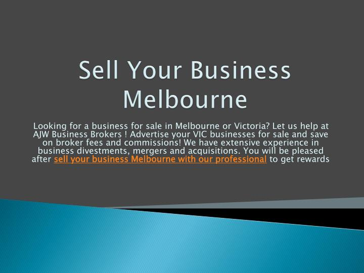 Sell Your Business Melbourne