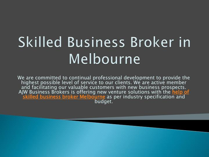 Skilled business broker in melbourne
