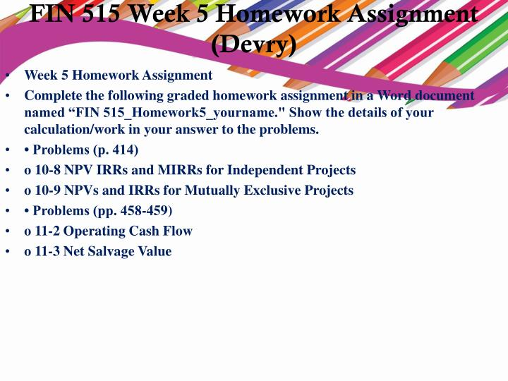 fin 515 week 2 homework assignment