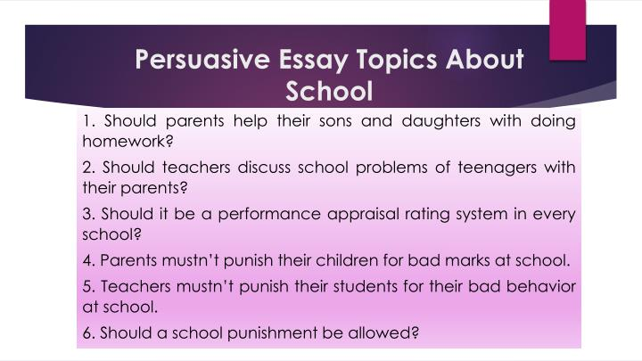 interesting topics for a persuasive essay