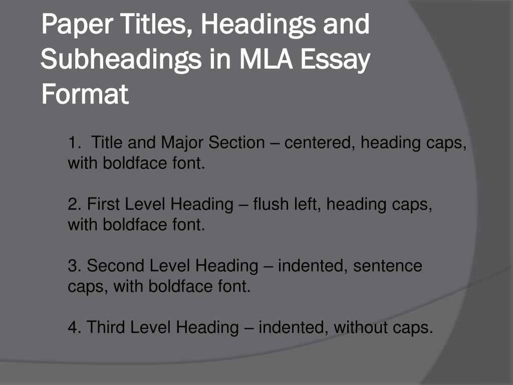 PPT - MLA Essay Format PowerPoint Presentation, free ...